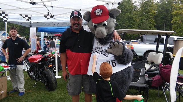 John with the Iron Pigs mascot
